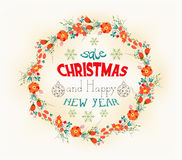 Retro christmas and new year card Stock Photo