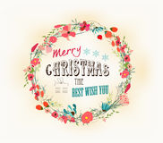 Retro christmas and new year card Royalty Free Stock Images