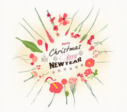 Retro christmas and new year card Stock Photography