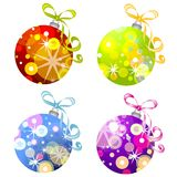 Retro Christmas Ornaments 3. A clip art illustration of retro-look Christmas ornaments in various colors with unique designs isolated on white Stock Photos