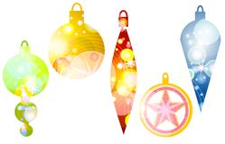 Retro Christmas Ornaments. A clip art illustration of retro-look Christmas ornaments in various colors with unique designs isolated on white Royalty Free Stock Image