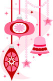 Retro Christmas Ornaments/eps. Fun, retro style illustration of hanging Christmas ornaments in bright pink Stock Photo