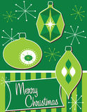 Retro Christmas Ornaments. Merry Christmas card or poster with three retro ornaments Stock Image