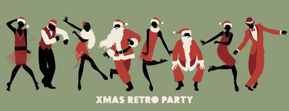 Retro Christmas party. Group of four men and four girls dancing charleston. Retro Christmas party. Group of four men and four girls wearing Santa Claus costumes Royalty Free Stock Photography
