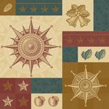 Retro Christmas pattern. In woodcut style. Vector illustration Royalty Free Stock Images