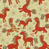 Retro Christmas pattern Seamless with horses. Seamless with red drawing horses Royalty Free Stock Image