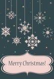 Retro Christmas postcard. Christmas postcard with snowflakes, retro Stock Image