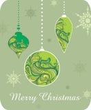 Retro Christmas postcard. Christmas postcard with snowflakes, retro Stock Photo