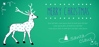 Retro Christmas Postcard. Merry christmas on a green horizontal background with a reindeer Stock Images