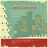 Retro christmas poster.Vector city in holiday on o Stock Images