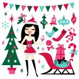 Retro Christmas Santarina Party Set vector illustration
