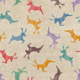 Retro Christmas seamless pattern with deers Stock Photo