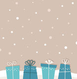 Retro christmas snowing background with gifts. Retro xmas background with gifts. Vector Stock Photos