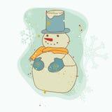 Retro Christmas Snowman Card vector illustration