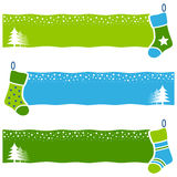 Retro Christmas Socks Horizontal Banners. A collection of three Christmas horizontal banners with retro socks on blue and green background. Eps file available Stock Photography
