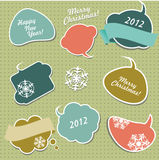 Retro Christmas stickers , vector illustration Stock Photo