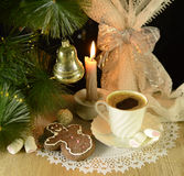Retro christmas still life with coffee Royalty Free Stock Photo