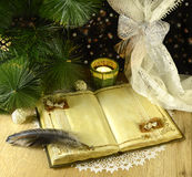 Retro Christmas still life with diary Royalty Free Stock Photo