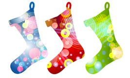 Retro Christmas Stockings. A clip art illustration of your choice of 3 retro Christmas stockings isolated on white Stock Photo