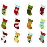Retro Christmas Stockings. A set of retro Christmas stockings vectors Royalty Free Stock Images