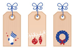 Retro Christmas Tags / Labels. Stylized Christmas Tags. Vector retro Illustration Stock Photo
