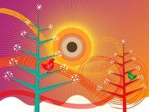 Retro christmas tree and birds stock illustration