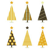 Retro Christmas Tree Isolated On White Stock Images