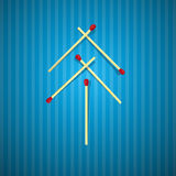 Retro Christmas Tree Made From Matches Stock Photography