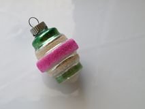 Retro Christmas Tree Ornament Pink Green Silver White Stock Photos