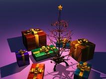 Retro Christmas tree with presents Stock Photos