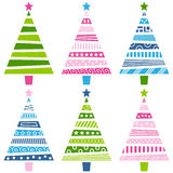 Retro Christmas Tree Set. Six retro Christmas trees, in different versions and colors, isolated on white background. Eps file available Royalty Free Stock Photography