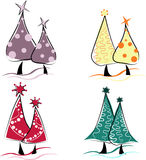 Retro Christmas Tree Set Royalty Free Stock Photos