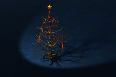 Retro Christmas Tree Spotlighted Stock Photos