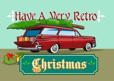 Retro Christmas Tree Station Wagon Stock Image