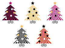Retro Christmas Trees collection. Royalty Free Stock Images