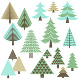 Retro Christmas Trees Royalty Free Stock Images