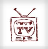 Retro christmas TV Stock Photos