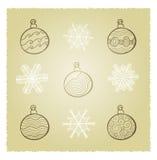 Retro Christmas. Vector retro card wth Christmas fir tree decorations Stock Illustration