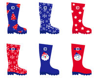 Retro Christmas wellington Boots set Royalty Free Stock Photography