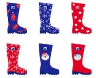Retro Christmas wellington Boots set Royalty Free Stock Photography