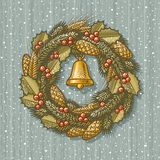 Retro Christmas wreath. In style of engraving. Vector illustration Stock Images