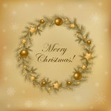 Retro Christmas Wreath. Vector Royalty Free Stock Image