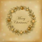 Retro Christmas Wreath. Vector royalty free stock image
