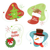 Retro Chritmas Set 2 Isolated Stock Photo