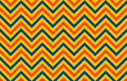 A retro chromatic with chevron lines in orange and blue against a yellow background. Horizontal graphic resource: abstract background with symmetrical pattern vector illustration