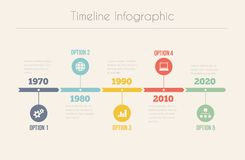 Retro Chronologie Infographic Stock Afbeelding