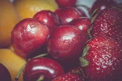 Retro ciliegia e fragola dell'albicocca Fotografie Stock Libere da Diritti