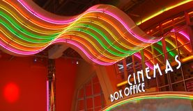 Retro cinema. Box office under neon lights Stock Photo