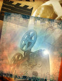 Retro cinema background. Abstract cinematography background, filmstrip and film projector Royalty Free Stock Images