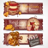 Retro cinema banners. Cinema entertainment media hand drawn retro banners isolated vector illustration Stock Photos